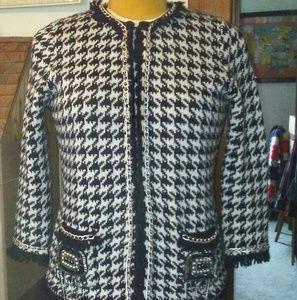 Zara Houndstooth Cardigan Jacket